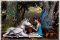 Fairy and unicorn  - fantasy fan art