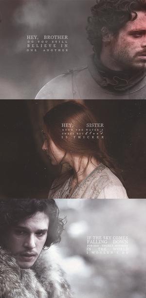Jon Snow, Robb & Sansa Stark