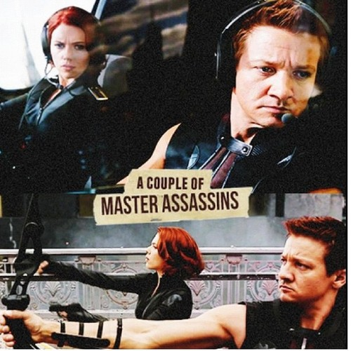 Hawkeye 바탕화면 probably with a sign called A couple of Master Assassins