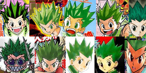 The アニメ got Gon's hair color wrong.