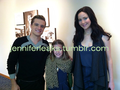 Josh and Jennifer with a fan