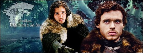 Jon Snow and Robb Stark wallpaper containing a pelliccia cappotto titled Robb Stark & Jon Snow