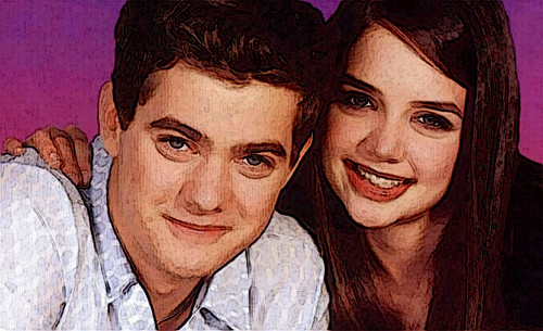 Joshua Jackson & Katie Holmes hình nền probably containing a portrait titled Josh & Katie Paintings