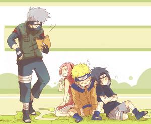 Kakashi Hatake and Naruto, Sakura and Sasuke