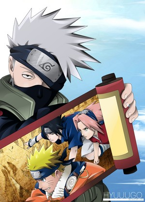 Kakashi Hatake and Naruto, Sakura and Sasuke