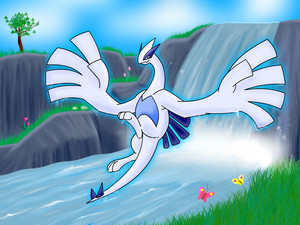 Lugia door a waterfall.