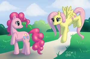 Pinkie Pie and Fluttershy on a Sunny Day