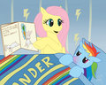 Fluttershy Cheering up pelangi Dash