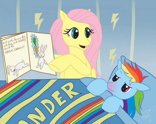 My Little Pony Friendship is Magic wallpaper with anime entitled Fluttershy Cheering up Rainbow Dash