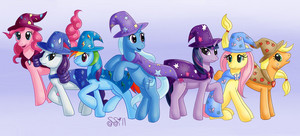 Mane 6 and Trixie Wearing Capes