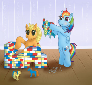 アップルジャック, applejack and 虹 Dash Playing with Legos