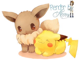 a chibi Eevee and Pikachu