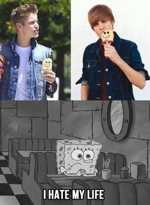Spongbob hates being in Justin's mouth
