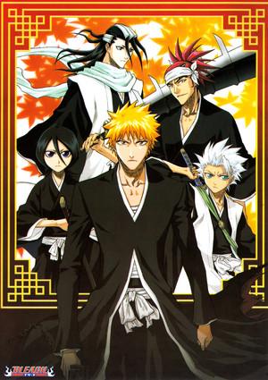 Renji Abarai, Ichigo, Rukia, Byakuya and Toushirou