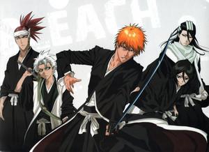 Renji Abarai, Ichigo, Byakuya and Toushirou