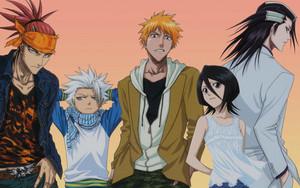 Renji Abarai, Toushirou, Ichigo, Rukia and Byakuya