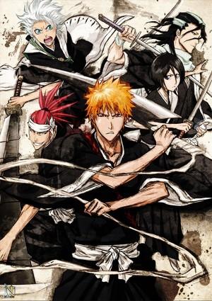 Renji, Toushirou, Ichigo, Rukia and Byakuya