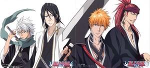 Renji, Ichigo, Byakuya and Toushirou