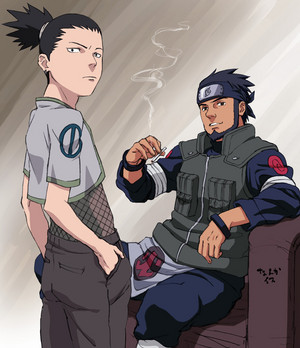 Сикамару Nara and Asuma Sarutobi