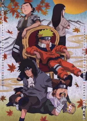 Shikamaru, Naruto, Kiba, Choji and Neji