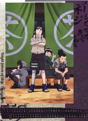 Shikamaru, Neji, Kiba and Rock Lee