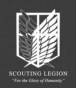 Shingeki no Kyojin (Attack on Titan) Hintergrund probably with a sign entitled Scouting Legion