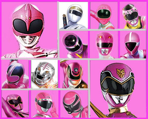 The berwarna merah muda, merah muda and White Rangers