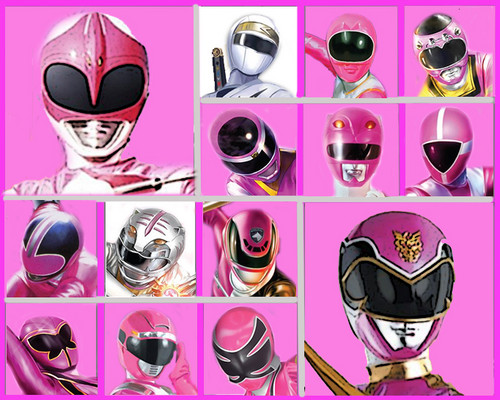 The Power Rangers karatasi la kupamba ukuta possibly containing a compact disk titled The pink and White Rangers
