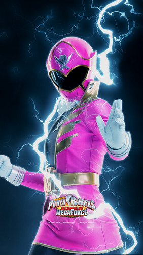 The Power Rangers karatasi la kupamba ukuta entitled pink Super Megaforce Ranger