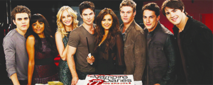 The Vampire Diaries cast celebrating 100th episode