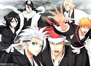Toshiro Hitsuagya and Rukia, Byakuya, Renji, Ichigo and Kisuke