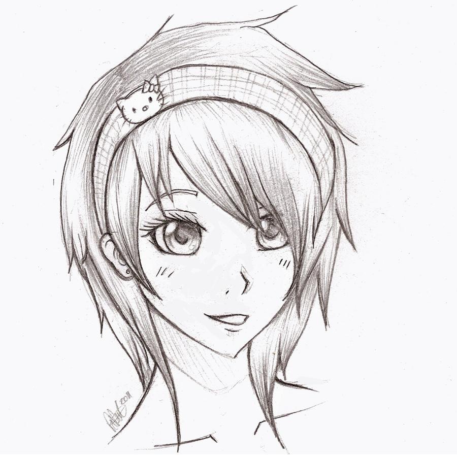 Sketching of an anime girl