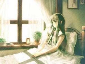 ऐनीमे girl on बिस्तर
