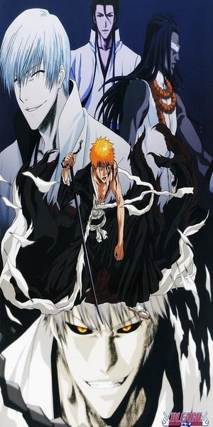 gin Ichimaru, Ssosuke Aizen, Kaname Tosen, Ichigo Kurosaki and Hollow Ichigo
