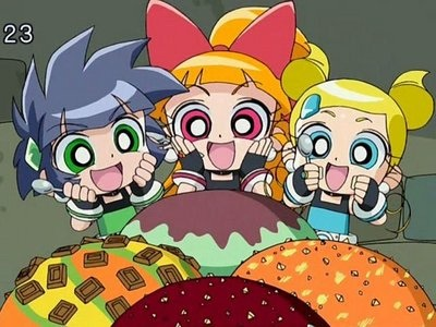 powerpuff girls Z wallpaper containing anime titled The Powerpuff Girls about to chow down on very big helpings of ice cream