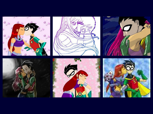 Teen Titans Hintergrund containing Anime and a stained glass window titled robin and starfire
