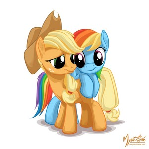 manzana, apple Jack and arco iris Dash