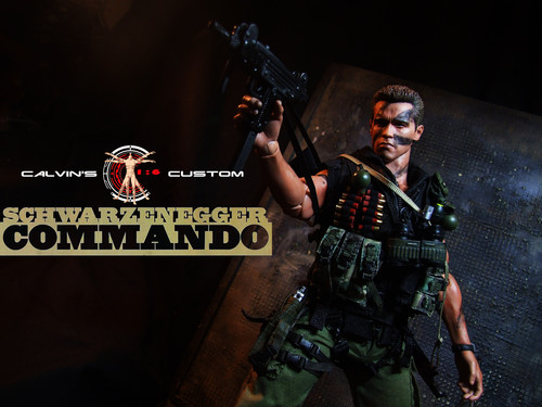 Arnold Schwarzenegger Hintergrund with a rifleman, a green beret, and a navy dichtung titled Calvin's Custom One sixth scale Commando Figure MKIII
