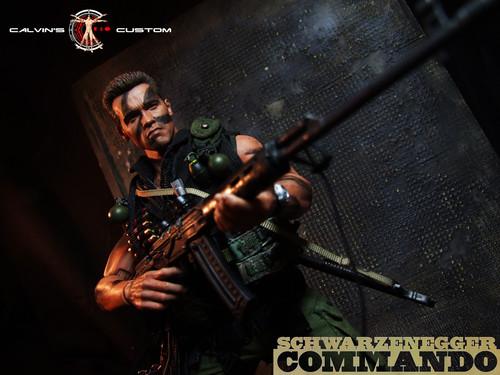 Arnold Schwarzenegger Hintergrund probably containing a konzert titled Calvin's custom one sixth scale Commando figure MKIII