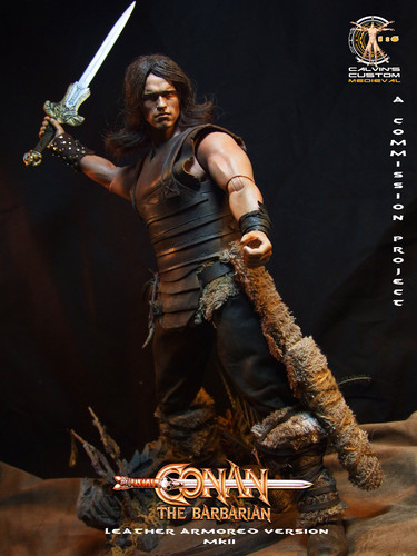 Arnold Schwarzenegger Hintergrund probably containing a pick, a hip boot, and a gatter, wicket called Calvin's custom one sixth scale Conan figure