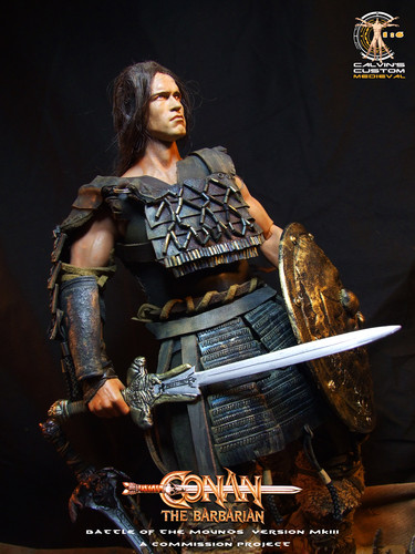 Arnold Schwarzenegger Hintergrund possibly with a green baskenmütze called Calvin's custom one sixth scale Conan the Barbarian figure