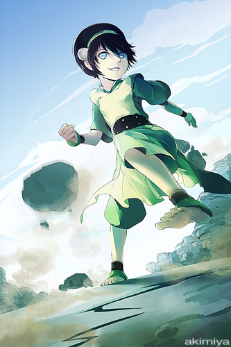 Avatar The Last Airbender karatasi la kupamba ukuta probably containing a sign called Toph Bei Fong