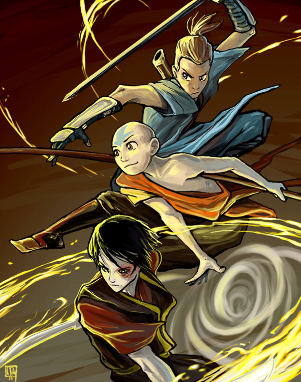Avatar  The Last Airbender Sokka  Aang  and ZukoZuko Fan Art