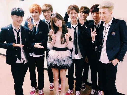bangtan boys wallpaper containing a business suit entitled Bangtan Boys with Taeyeon