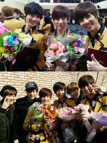 Boyfriend wallpaper possibly with a bridesmaid titled Youngmin, Kwangmin, and Minwoo graduate from high school!