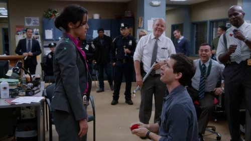 Brooklyn Nine-Nine 바탕화면 containing a business suit titled Amy x Jake