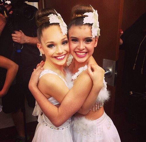 Dance Moms wallpaper probably containing a bridesmaid titled Maddie and Kalani