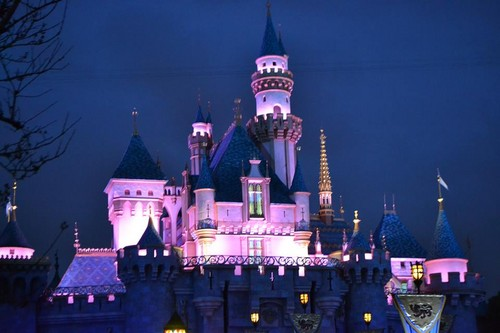 design wallpaper with a palace entitled DisneyCastle
