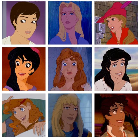 Genderbent Disney Princes