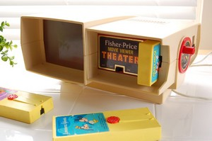 "Fisher Price Movie Projector With Movie patroon, cartridge Disney Cartoon, ""Lonesome Ghosts"""